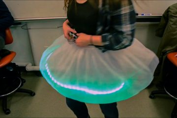 Whirling skirt with LED strip shines green